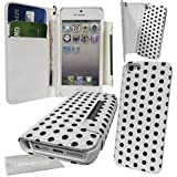 """Stylebitz / Etui portefeuille avec rabat magnétique détachable pour Apple iPhone 5S / 5, motif """"polka"""", livré avec chiffon de nettoyage (blanc & blanc)"""