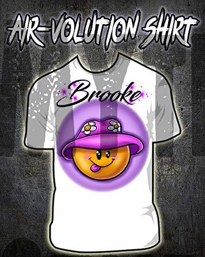 onalisierte Airbrush Smiley Emoji-Hemd Kinder- / Erwachsen-Größen Weiß ()