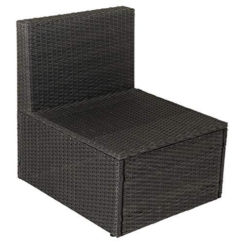 Nexos Sessel-Element Poly Rattan ohne Armlehne Farbe schwarz Relax-Sessel Gartensessel Gartenmöbel Rattan-Sessel Gartenstuhl Sitz-Element Veranda-Sessel