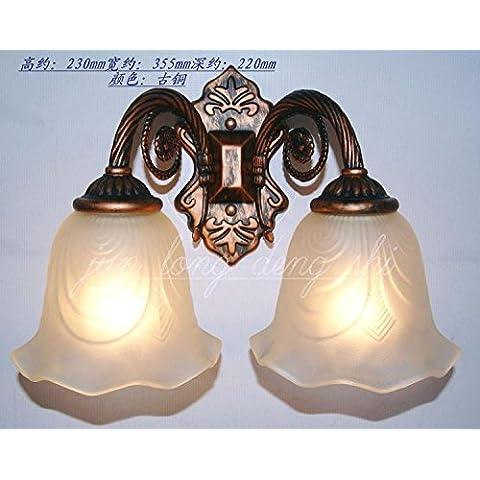 GaoHX European-Style Giardino ferro battuto due candela Lampada da parete Comodino lampada a specchio