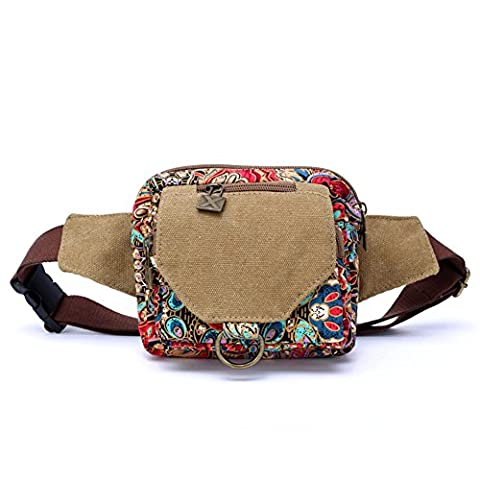 Women Bum Bag Waist Pack, Dopobo Printed Canvas Festival Waist Bag, BumBag, FannyPack for Women, Girls, Ladies with Lots of Pockets, Retro Bohemian Style