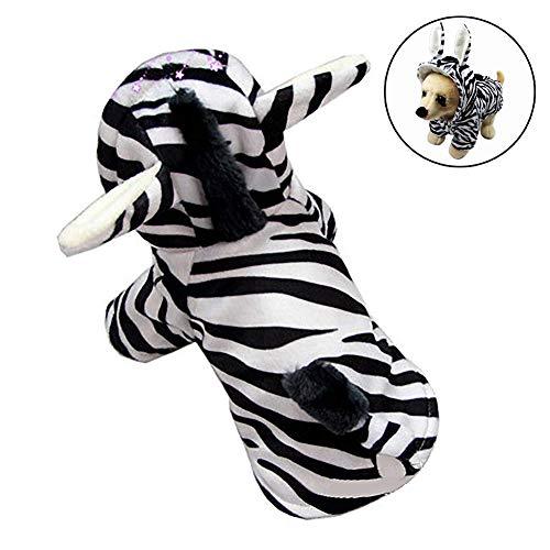 Hunde Zebra Kostüm - FZXPET Haustier Kostüm, Lustige Hundekleidung, Anzieh Weihnachten Halloween Party Bekleidung Bekleidung, Zebra Design Hundekleidung, Winter Warme Mantel Für Hunde Katze,S