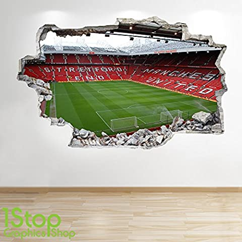 MANCHESTER UNITED STADIUM WALL STICKER 3D LOOK - BOYS KIDS FOOTBALL BEDROOM Z48 Size: Large