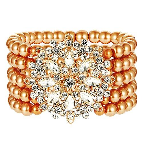 ArtiDeco 1920s Armband Perlen Damen Gatsby Kostüm Zubehör Blinkende Kristall Armreif 20er Jahre Accessoires für Damen (Stil 4-Gold)
