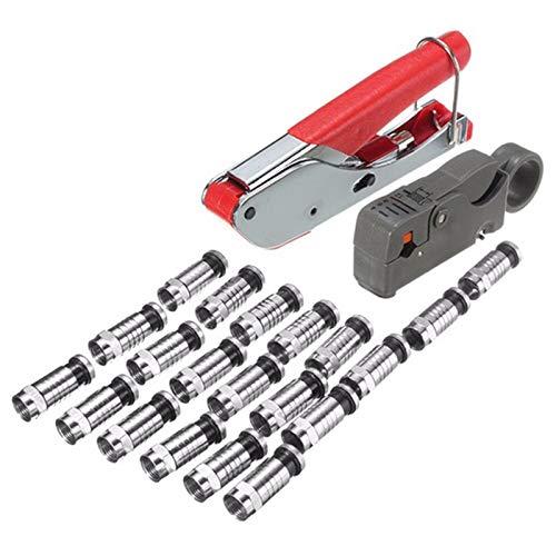 CUHAWUDBA 22 StüCke Universal Kompression Werkzeug Kit Stripper F Bnc Rg6 Kabel Koax Crimper Mit Rotem Flexibler Kleber Quad Crimp Tool