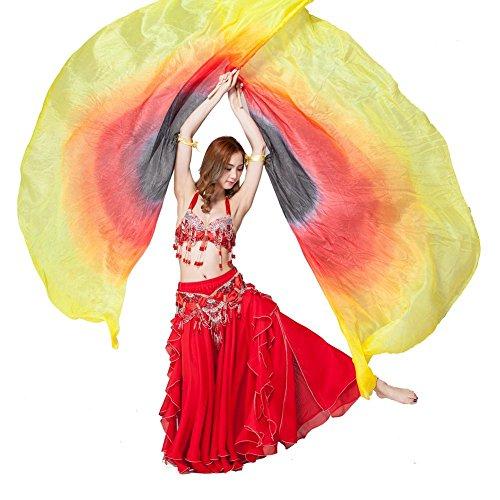 erwachsene bauchtanz isis flügel halbkreis schal schleier handgefertigte bunte dye silk performance professional requisiten . yellow . (Latin Verkauf Für Verwendet Dance Kostüme)