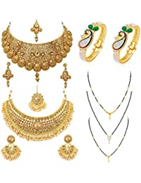 Sukkhi Fascinating Pearl Gold Plated Necklace Mangalsutra & Kada Combo for Women (SKR48721)