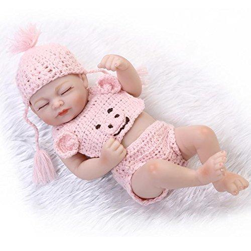 NPKDOLL Réincarné Bébé Poupée Vinyle Silicone Dur 10 Pouces 26Cm Yeux Waterproof Jouet Fille Rose Fermer Reborn Baby Doll A1FR