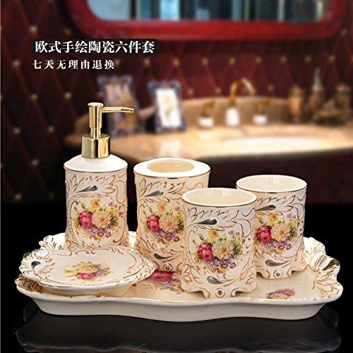 HJKY bathroom accessories set Keramik Badewanne set Continental fünf Stück mit Fach kreative Pflegeprodukte Hochzeit Geschenke, 6-teilig (einschließlich Fach)