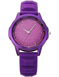 Relojes Pulsera Único Rhinestone Brillante Dial Esmerilado Cuarzo Relojes Mujer Correa de Silicona Mate Deportivo,