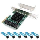 QNINE Scheda PCIe SATA 6 Porte con 6 Cavi SATA, PCI Express a SATA Controller Scheda di espansione con Low Profile Bracket, 6 Gbps SATA 3.0 PCI-e Scheda Senza Supporto Raid, HDD o SSD