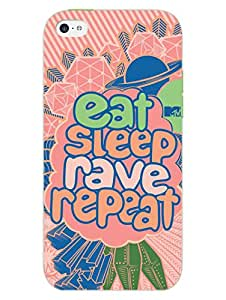 iPhone 5 5S Cover - MTV Gone Case - Eat Sleep Rave Repeat - Peach - Designer Printed Hard Shell Case
