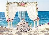 YongFoto 1,5 x 1 m, fondo de ceremonia de boda, fondo de playa de arena para fotografía, flores rosas, cortina blanca de verano, fondo de fotos de vinilo, para amantes de los estudios.