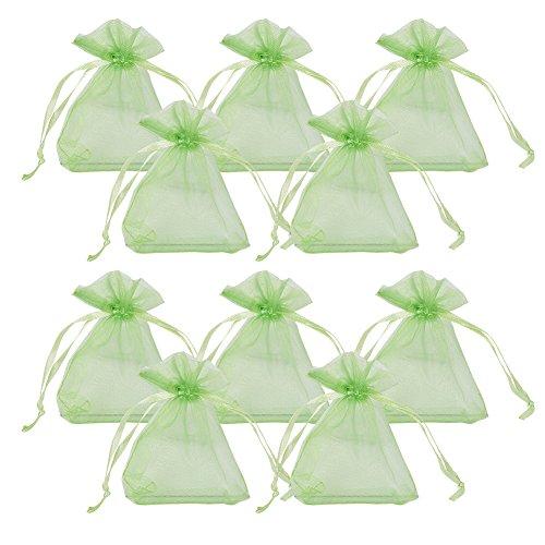Pandahall 100pcs sacchetti regalo organza saccgetti portaconfetti sacchetti gioielli, rettangolo, verde chiaro, 9x7cm