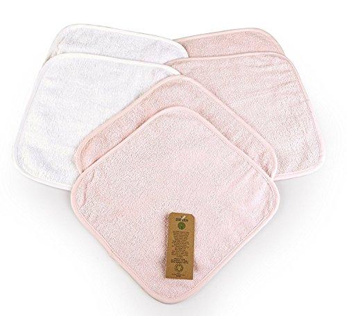 Arus 6 Baby-Waschlappen, 2 in Weiß, 4 in Rosa, 30X30 cm