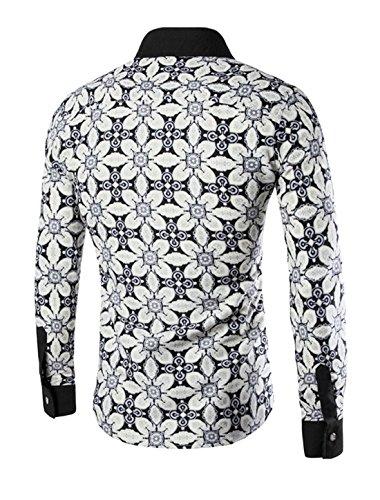 sourcingmap Herren Spitzer Kragen Einreihig Bedruckt Passform Hemd Beige