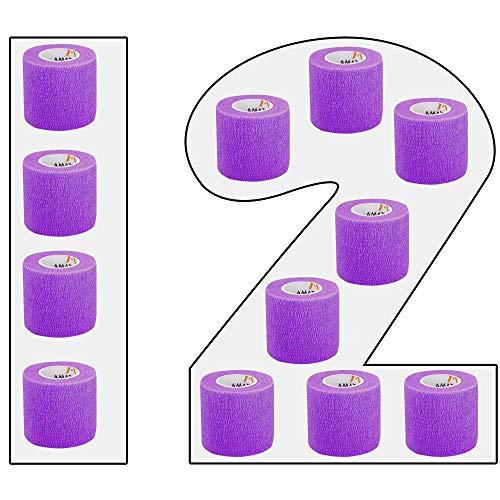 Kohesive - Vendas autoadhesivas (12 unidades, 5 cm de ancho, 4,5 m de longitud, para dedos, manos, dedos de los pies y fa), color morado