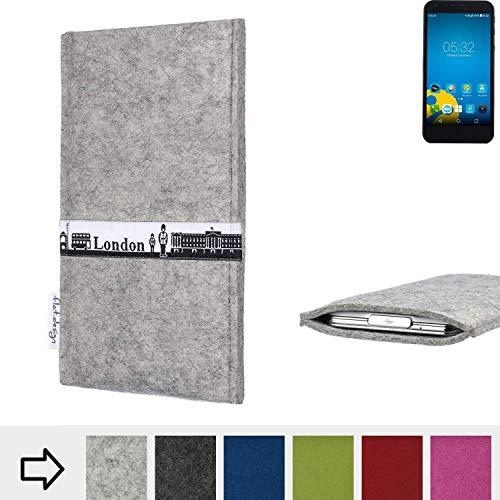 flat.design für Vestel 5000 Dual-SIM Schutz Hülle Handy Case Skyline mit Webband London - Maßanfertigung der Schutztasche Handy-Tasche aus 100% Wollfilz (hellgrau) für Vestel 5000 Dual-SIM
