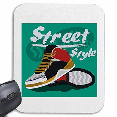 "Mousepad (Mauspad) ""STREET STYLE TURNSCHUHE SNEAKER LAUFSCHUHE SPORTSCHUHE SPORTUNTERRICHT JOGGING LIFESTYLE FASHION STREET WEAR HIPHOP LEGENDARY SALSA"" für ihren Laptop, Notebook oder Internet PC .. (mit Windows Linux u"