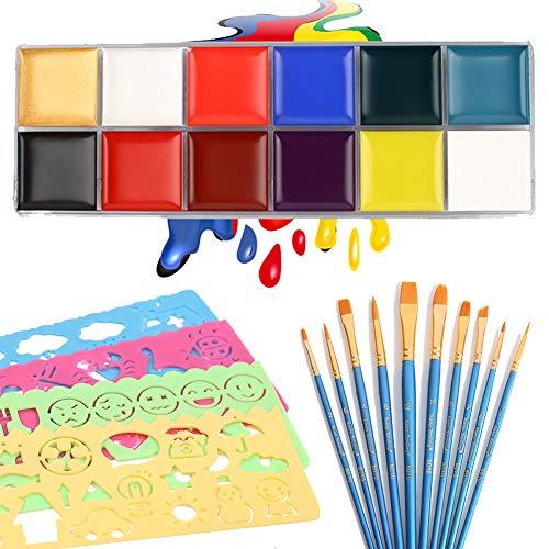 ichtskörperbemalungsset für Kinderund Erwachsene mit 10 Pinseln und Schablonen Set Safe Make-up Pigment auf Wasserbasis für Halloween, Party, Karneval, Maskerade ()