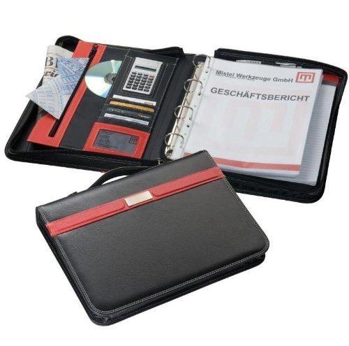 Edle A4 Ringbuchmappe/ Schreibmappe mit Reißverschluss aus Bonded Leder (Lederfaserstoff) mit Taschenrechner & liniertem Block - 36,5 x 28 x 6,5 cm
