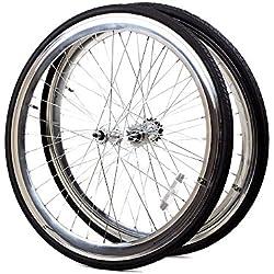 Rueda pares 700C SINGLE SPEED de Flip Flop Llanta par de aluminio con neumáticos negras, plata, 28 pulgadas