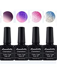 Annabelle Thermo Nagellack UV Nagellack Soak Off UV Gel Nagellack Nail Art Top Coat Base Coat 7.3ml (7.3ml/pc Lot de 4) 016