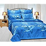 Skytouch Collection 150 TC 100% Cotton Beautiful Design Double Bedsheet With 2 Pillow Covers Size 90 By 100 3D Printed Multi Colour