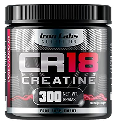 CR18 CREATINE - The ULTIMATE Creatine Monohydrate Supplement | 6,000mg Creatine Monohydrate per Serving | Red Cherry Flavour | Includes Alpha Lipoic Acid | 300 grams by Iron Labs Nutrition