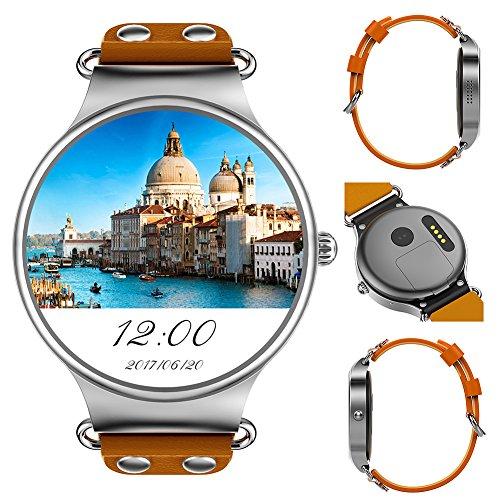 KW98 3 G Smart Watch Phone Android 5.1 3,5 cm GPS Herzfrequenz Messung Schrittzähler Sport Armbanduhr(Braun)
