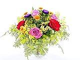 Blumenversand - Blumenstrauß - zum Geburtstag - Bunte Wiese mit Rosen - mit Gratis - Grußkarte zum Wunschtermin versenden