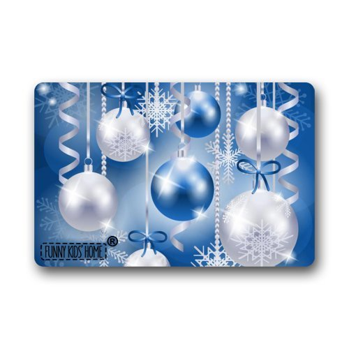 HujuTM Christmas Doormats - Gorgeous Blue and Silver Garland Balls X-Mas Decorations Custom Personalized Durable Machine-Washable Indoor/Outdoor Door Mat 23.6