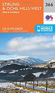 OS Explorer Map (366) Stirling and Ochil Hills West (OS Explorer Paper Map) (OS Explorer Active Map)