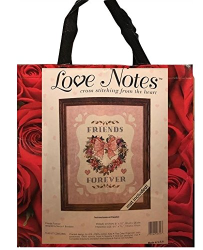 Dimensions Vintage Naht Kit & Rot Roses Tasche Geschenk Bundle Love Notes Friends Forever Heart Wreath Counted Cross Stitch (Band Hochzeit Gold 18k)