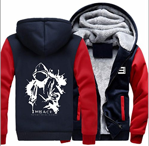 Kostüm Shady Slim - Wellgift Herren Winter Jacke Kapuzenpullover Zipper Hoodie Cosplay Plus Samt Dicke Sweatshirt Kostüm für ErwachseneDamen Kleidung Mantel