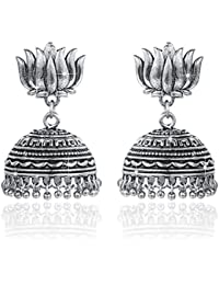 Yellow Chimes Traditional Earring Collection Oxidized Silver Plated Jhumka Earrings For Women And Girls
