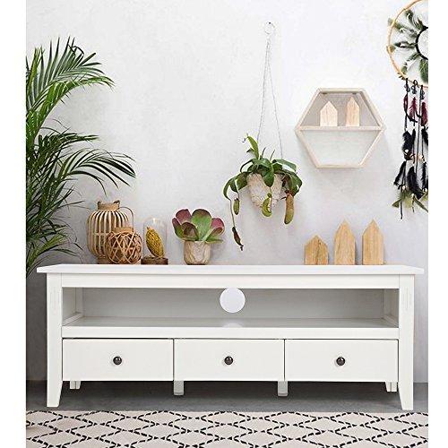 Meuble TV avec 3 Tiroirs Laque Blanc,EGGREE Scandinave Design Chic et Simple MDF Bois Cabinet Pour la TV,136 x 50 x 49 cm