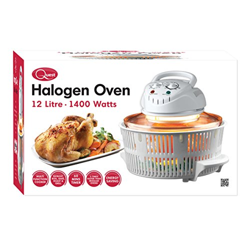 51qupQwM22L. SS500  - Quest 43890 Halogen Oven Low Fat Fryer Glass Housing,12L, 1400 Watt, White, 1300 W