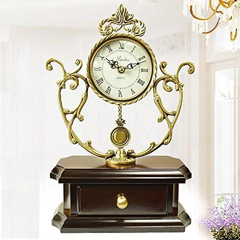 MCC Table de Quartz traditionnelle en bois horloge, haut Grade européen, Retro grande pendule creux Mantel de cuivre , coffee