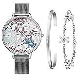 Kaifanxi Frauen Quarzuhr Uhr zarte Blumen Zifferblatt Design mit Geschenk Armband für Damen Saphirglas und klassisches poliertes Edelstahl Webe Band