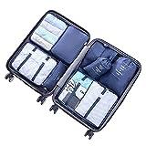 Walsilk 8 Set Organisateur d'emballage,Cubes d'emballage,Organisateurs de Voyage,Organiseurs de Bagages de Voyage,4 sac de vêtements+2 sac de soutien-gorge+1 trousse de toilette+1 sac de chaussures
