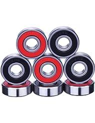 eBoot 8 Piezas de Rodamientos Rodamientos de Skate Cojinetes de Patines de Rueda y Longboard 608 2RS, Doble Blindado, Rojo y Negro