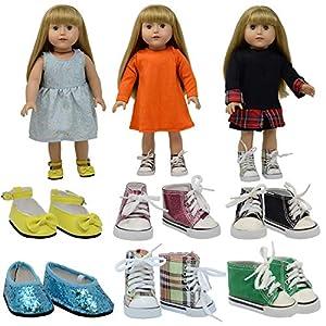 The New York Doll Collection- D360 6 Pares de Zapatos para muñecas de 18 Pulgadas (Estilo 1) (12 Unidades)