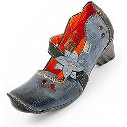 Leder Schuhe von TMA, Anthrazit-Blau Size 39