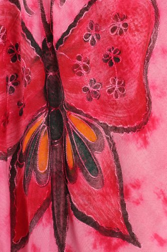 Sakkas Bindungsfärbung Schmetterling Panzer Mantel Kaftan Mid Länge Baumwollkleid Rosa