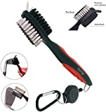 Golf Club Brush and Groove Cleaner by K&V Golf - Dual Sided Nylon & Steel Brush With Spike for Cleaning Club Face & Groove - With Loop Clip (Carabiner) For Easy Hanging on Golf Bag - Ergonomic Design