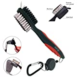 K & V Golf Golf Club Brush Groove Cleaner Dual Sided Nylon & Stainless Steel With Spike Cleans The Club Face & Groove With Belt Clip (Snap) for in Golf Bag, red