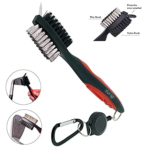 Golf Club Brush and Groove Cleaner by K&V Golf - Dual Sided Nylon & Steel Brush With Spike for Cleaning Club Face & Groove - With Loop Clip (Carabiner) For Easy Hanging on Golf Bag - Ergonomic Design - Golf