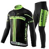 INBIKE Maillot Vélo Manches Longues + Pantalon Cuissard VTT 3D Coussin Rembourré Gel Vélo Tenue Cyclisme Confort Homme...