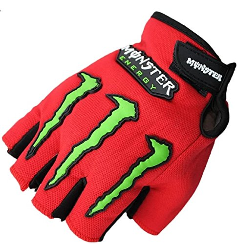 AlexVyan®-Genuine Accessory- Monster Half Finger Protective Special High Quality Riding Gloves, Protective Cycling Byke Bike Motorcycle Glove for Men, Gents, Boys Universal Size (Red)  available at amazon for Rs.224